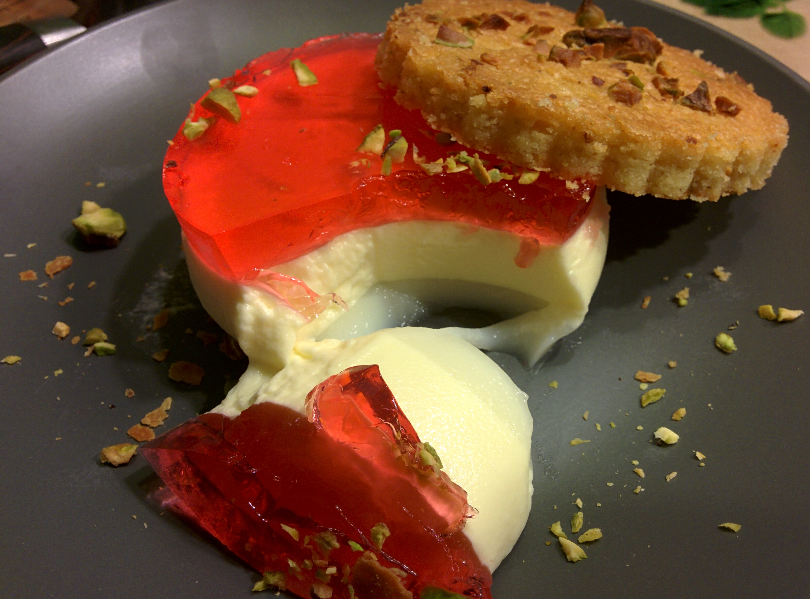 Rose Panna cotta with rose jelly and a cardomom-pistachio biscuit